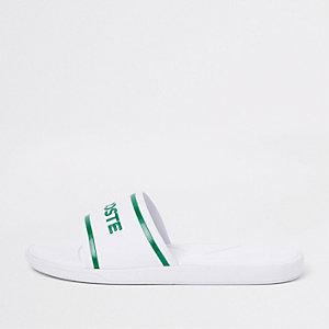 Lacoste  - Witte doorgestikte slippers