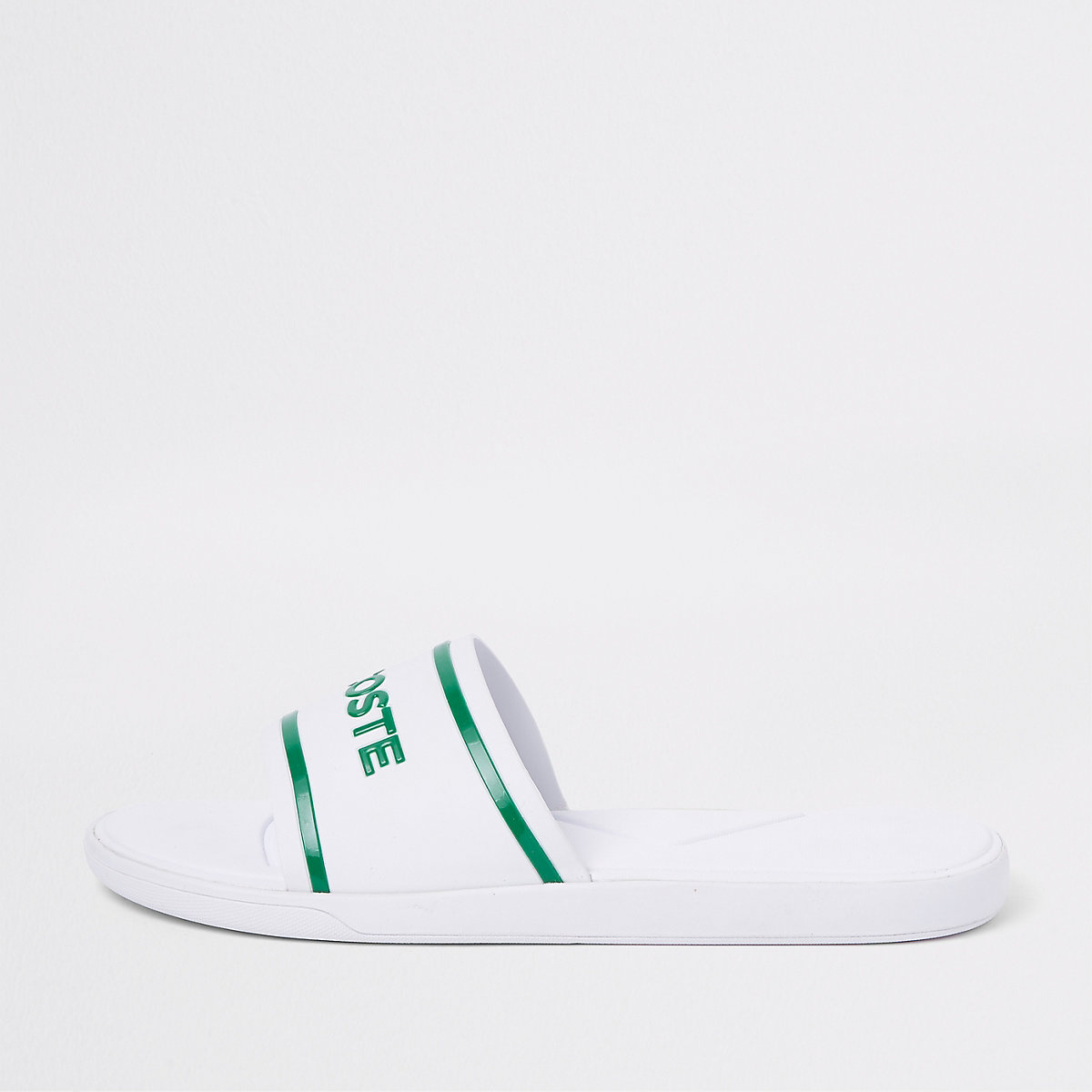 Lacoste white quilted sliders