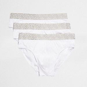 Weiße Slips mit Barockprint, 3er-Pack