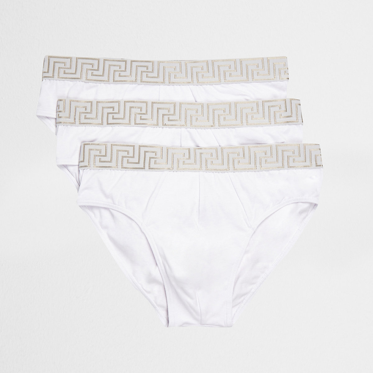 White baroque print briefs multipack