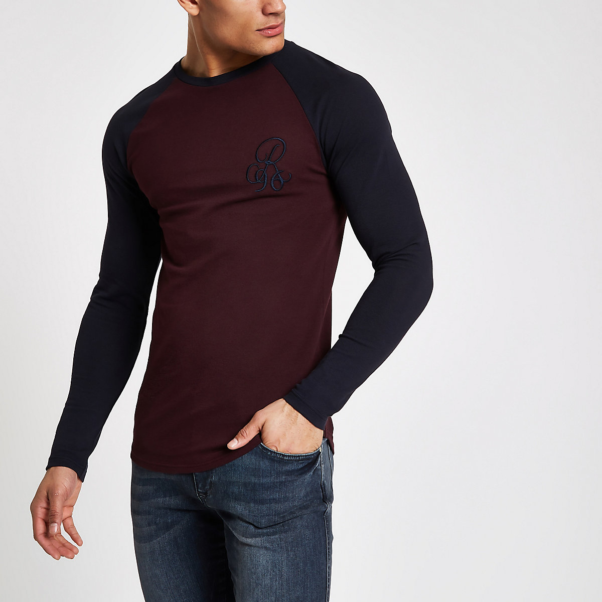 Dark red 'R96' muscle fit long sleeve T-shirt