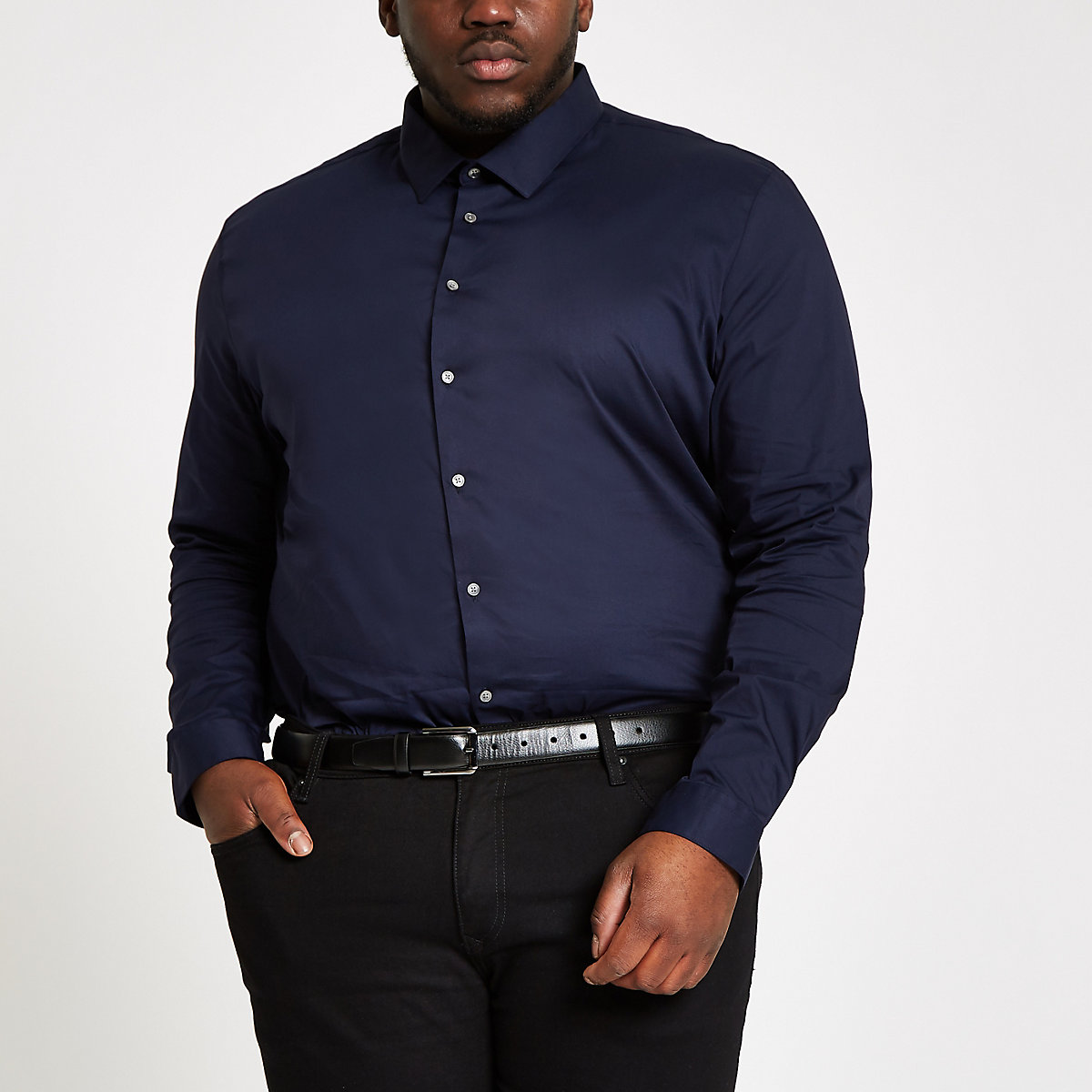 Big and Tall navy poplin shirt