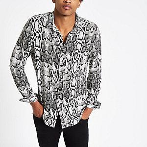 Grijs overhemd met slangenprint en lange mouwen