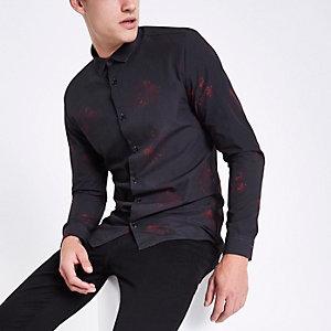 Black poplin floral button long sleeve shirt