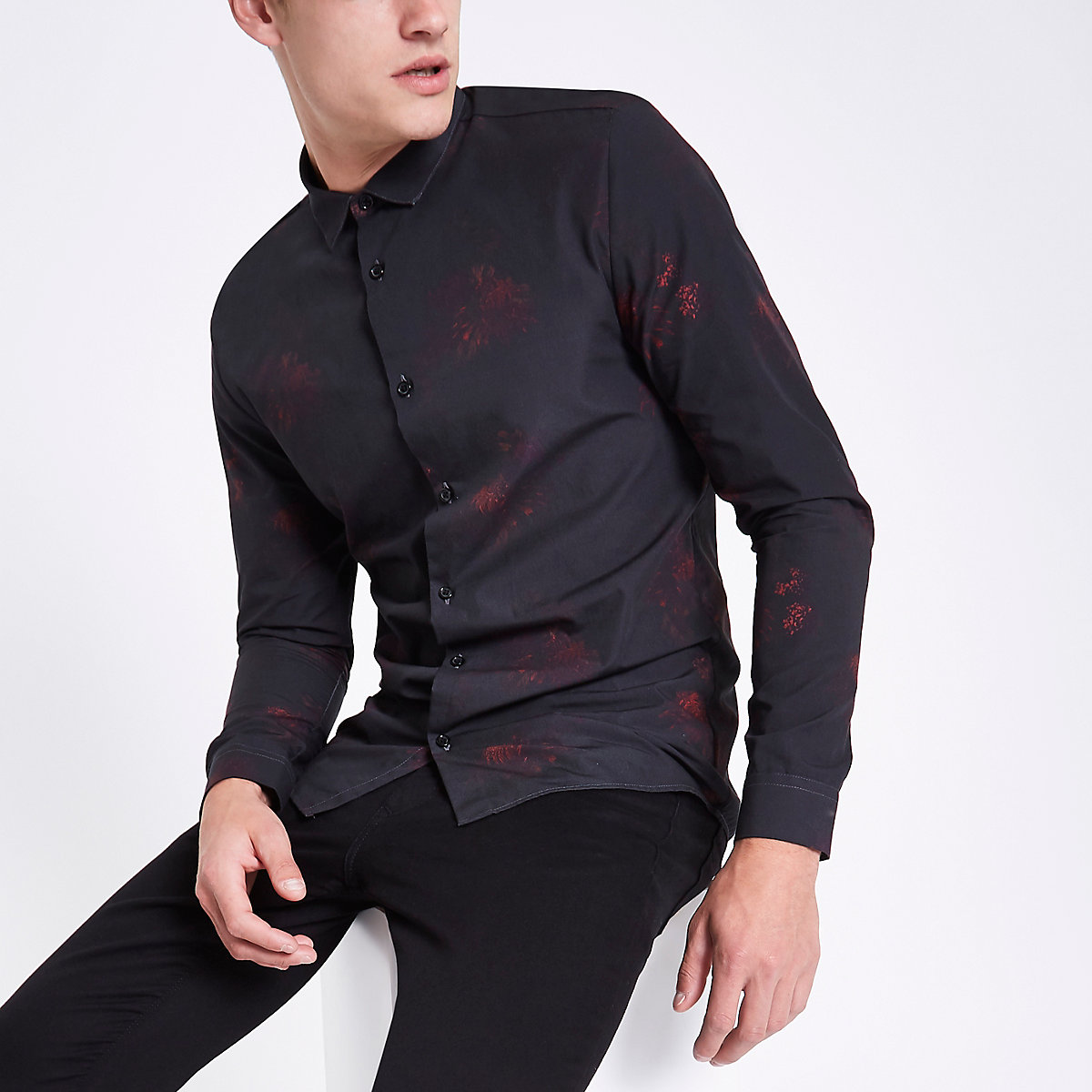 Black poplin floral button long sleeve shirt