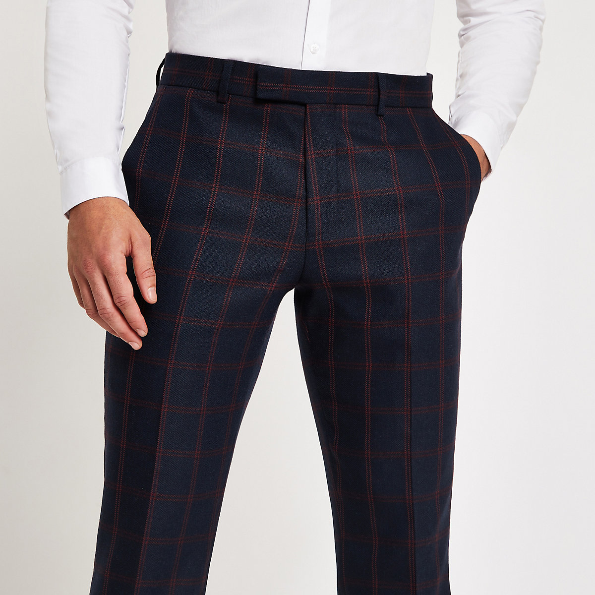 Navy check skinny suit pants