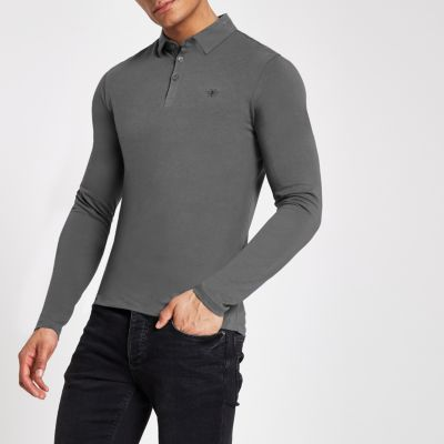 Grey Muscle Fit Wasp Embroidered Polo Shirt by River Island