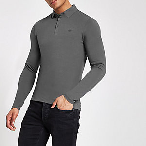 Grey muscle fit wasp embroidered polo shirt