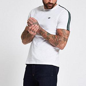 White crew neck tape T-shirt