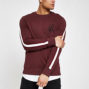 Slim Fit Sweatshirt in Bordeaux mit Stickerei