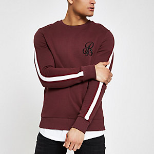 Sweat slim bordeaux brodé à bandes latérales