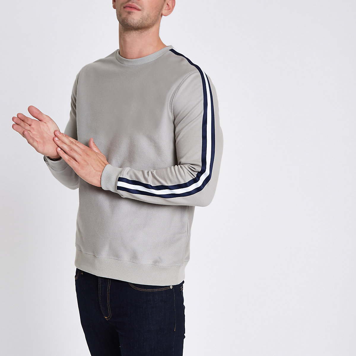 Grey slim fit tape sleeve sweatshirt