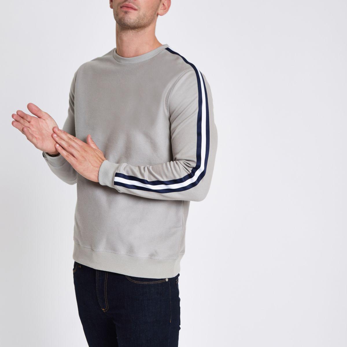 Grey slim fit tape sleeve sweatshirt