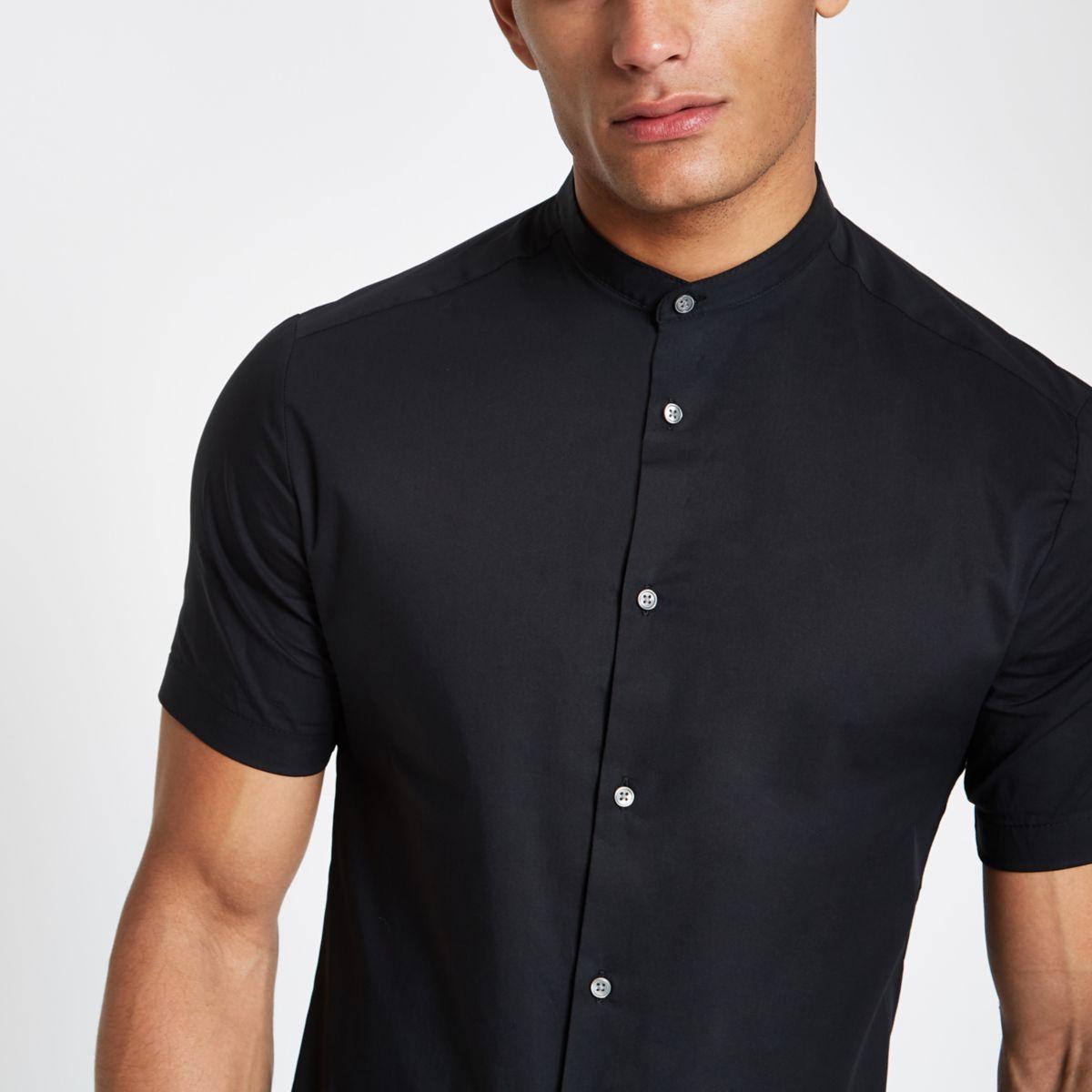 Black poplin grandad collar button-up shirt