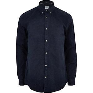 Marineblauw overhemd met stretch, knopen en lange mouwen