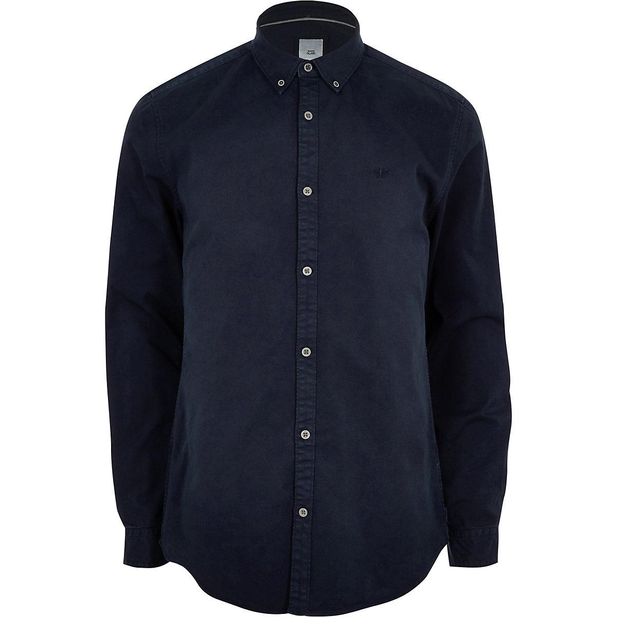 Navy button down stretch long sleeve shirt