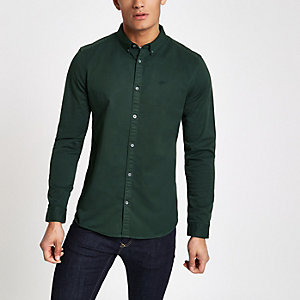 Dark green stretch long sleeve shirt