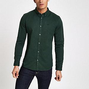 Chemise stretch vert foncé à manches longues