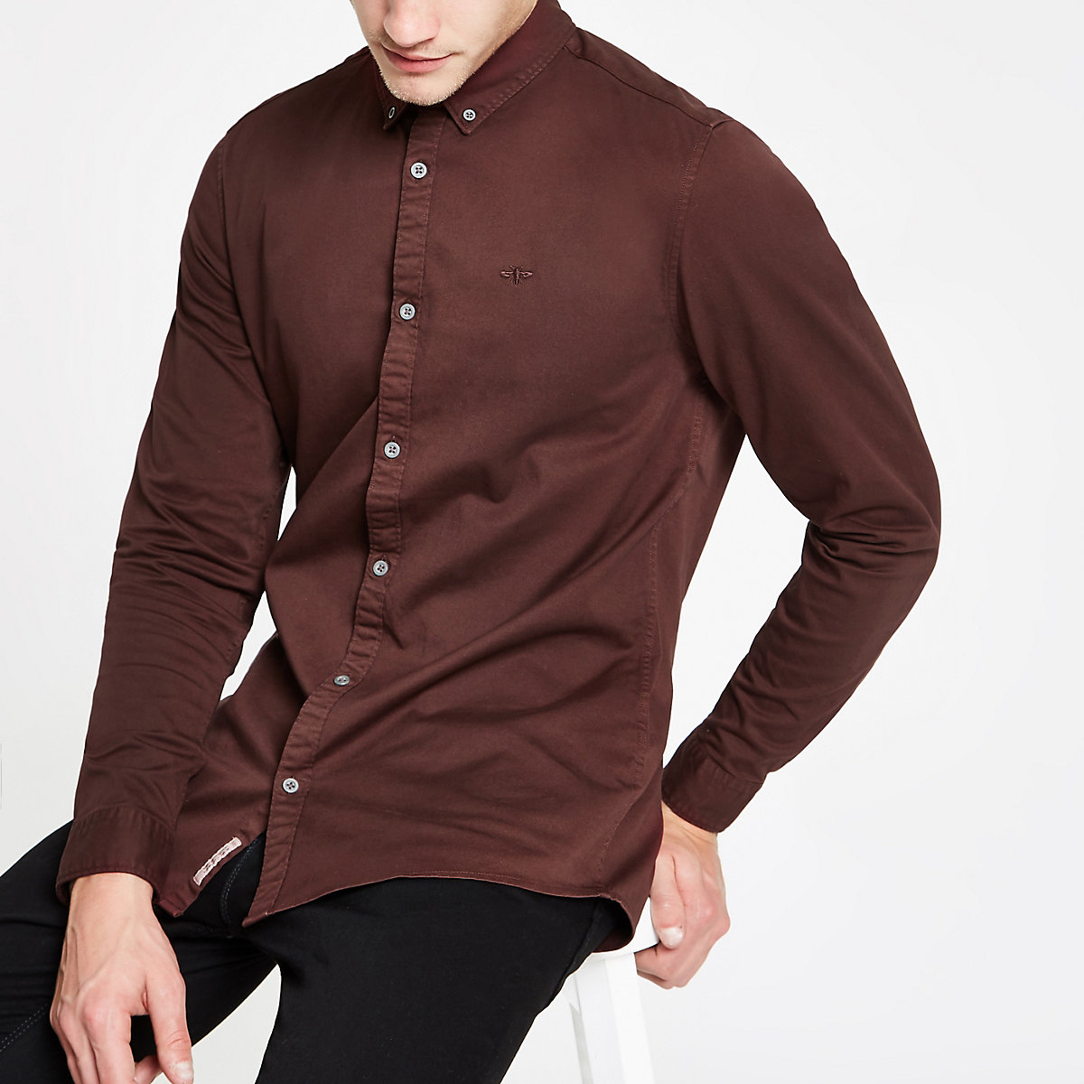 Burgundy stretch long sleeve shirt