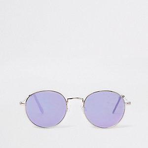 Silberne, runde, verspiegelte Sonnenbrille