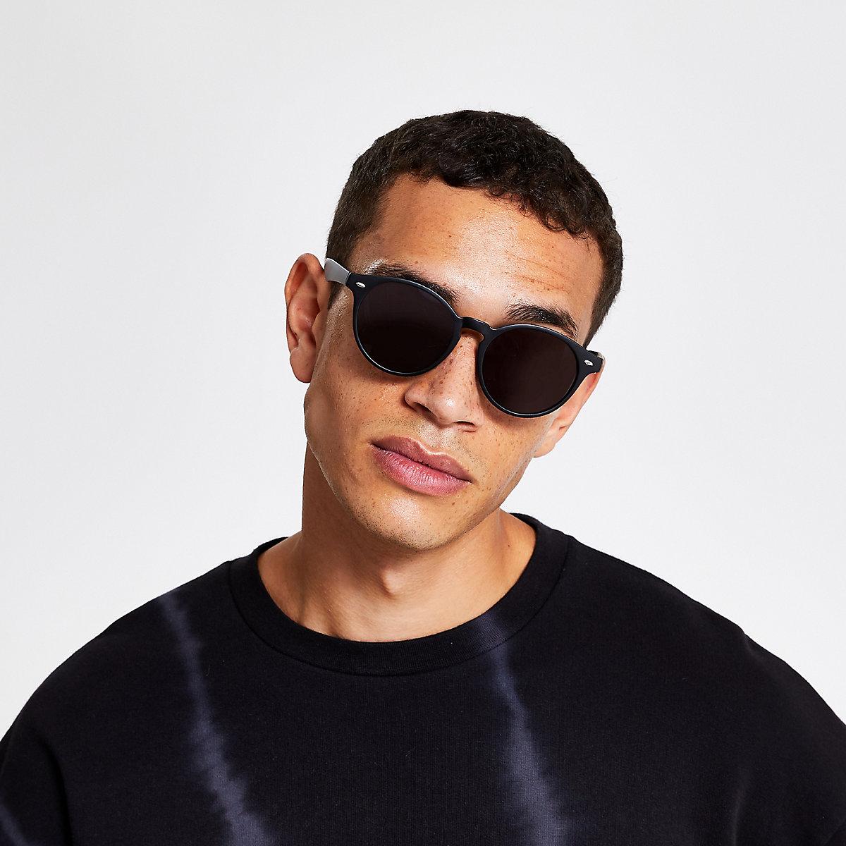 Black matte preppy round sunglasses