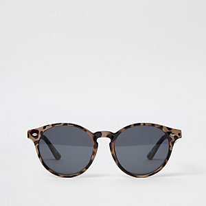 Braune runde Sonnenbrille mit Schildpattmuster
