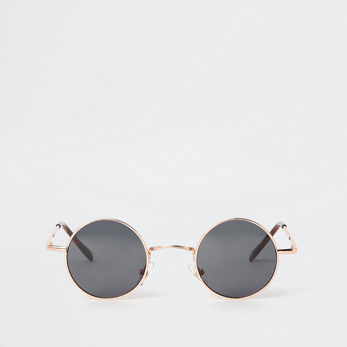 Gold tone small round smoke lens sunglasses