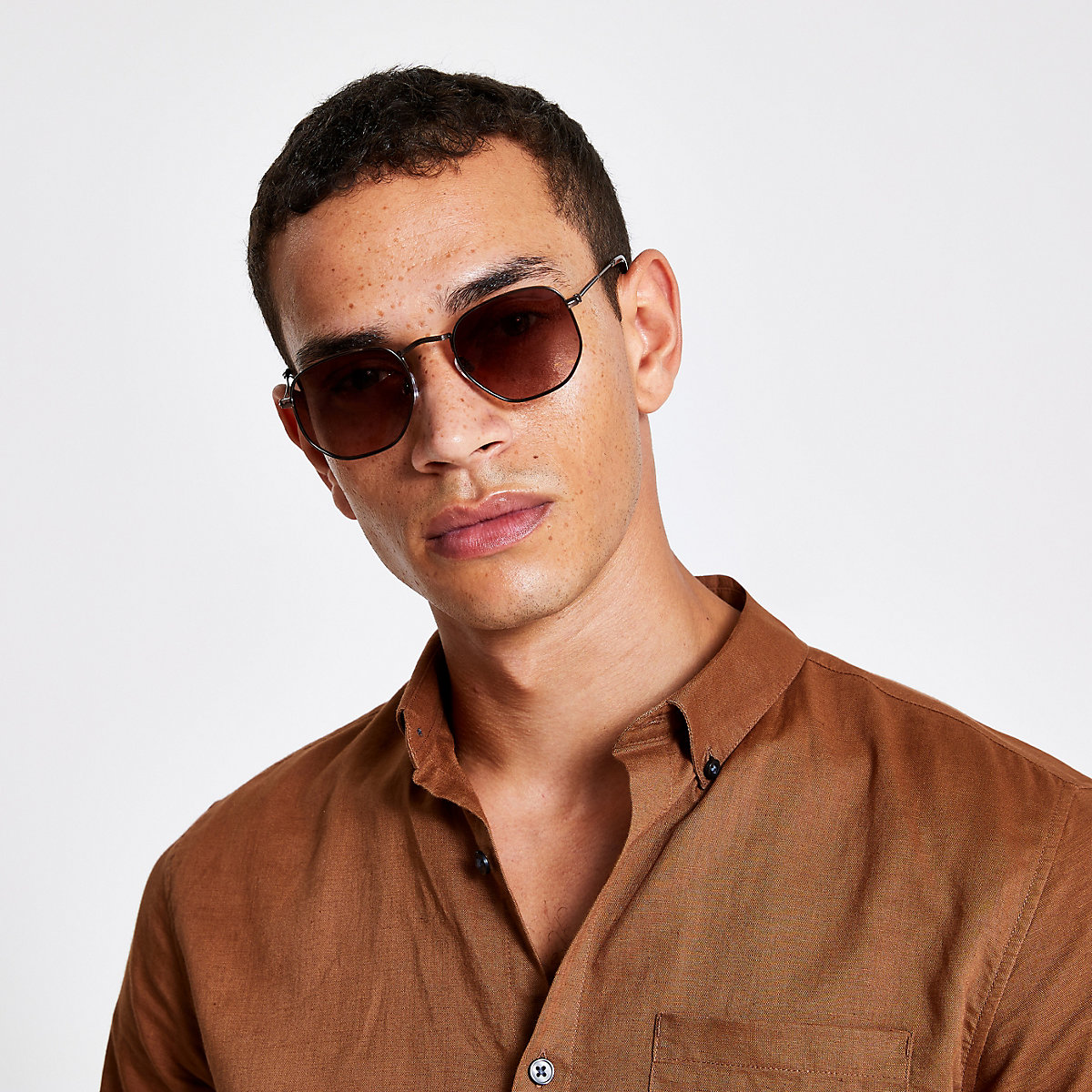 Brown hex sunglasses