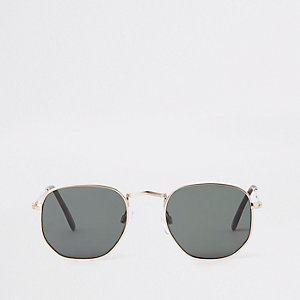 Gold tone black lens hex sunglasses