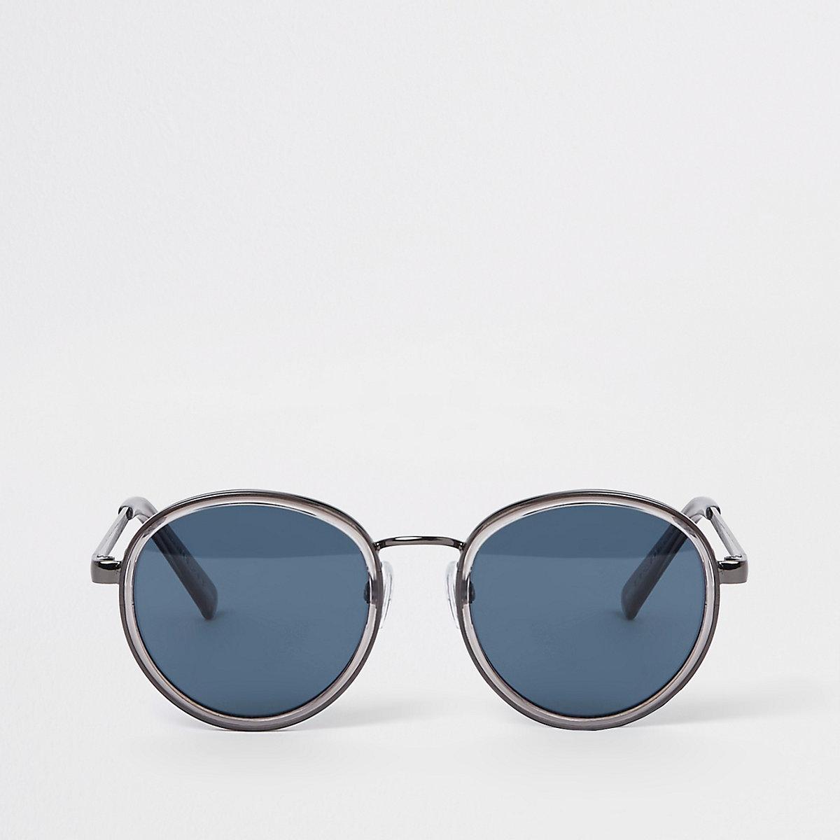 Grey blue lens round sunglasses