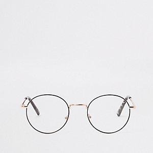 Goudkleurige bril met ronde doorzichtige glazen