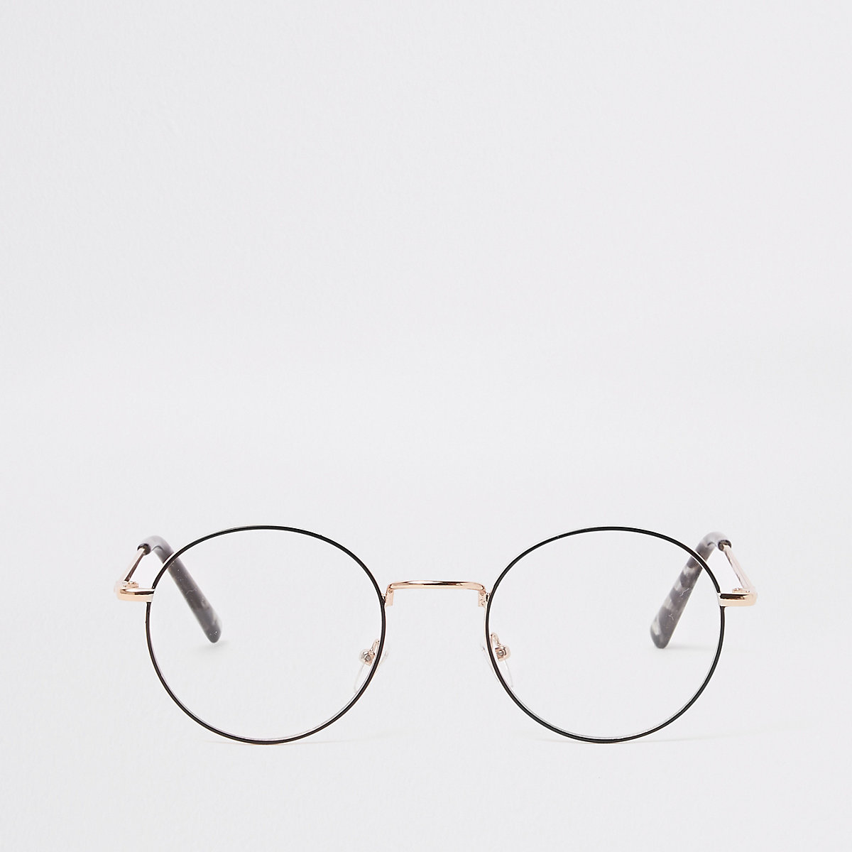 Gold tone round clear lens sunglasses