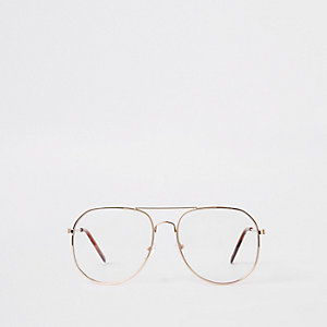 Gold tone aviator glasses