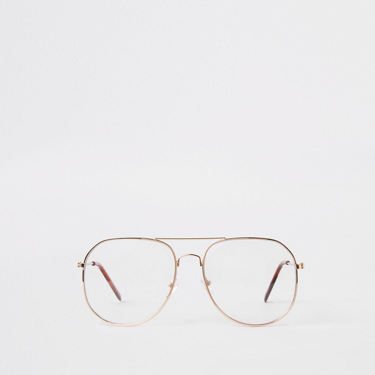 Gold tone aviator glasses