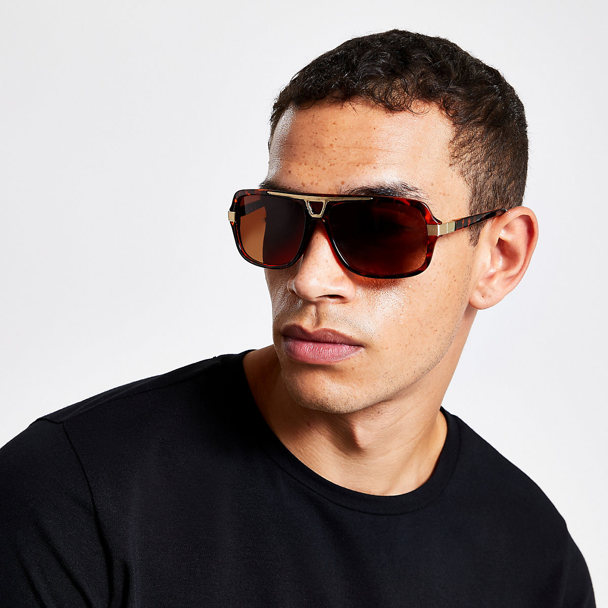 Brown brow bar aviator sunglasses