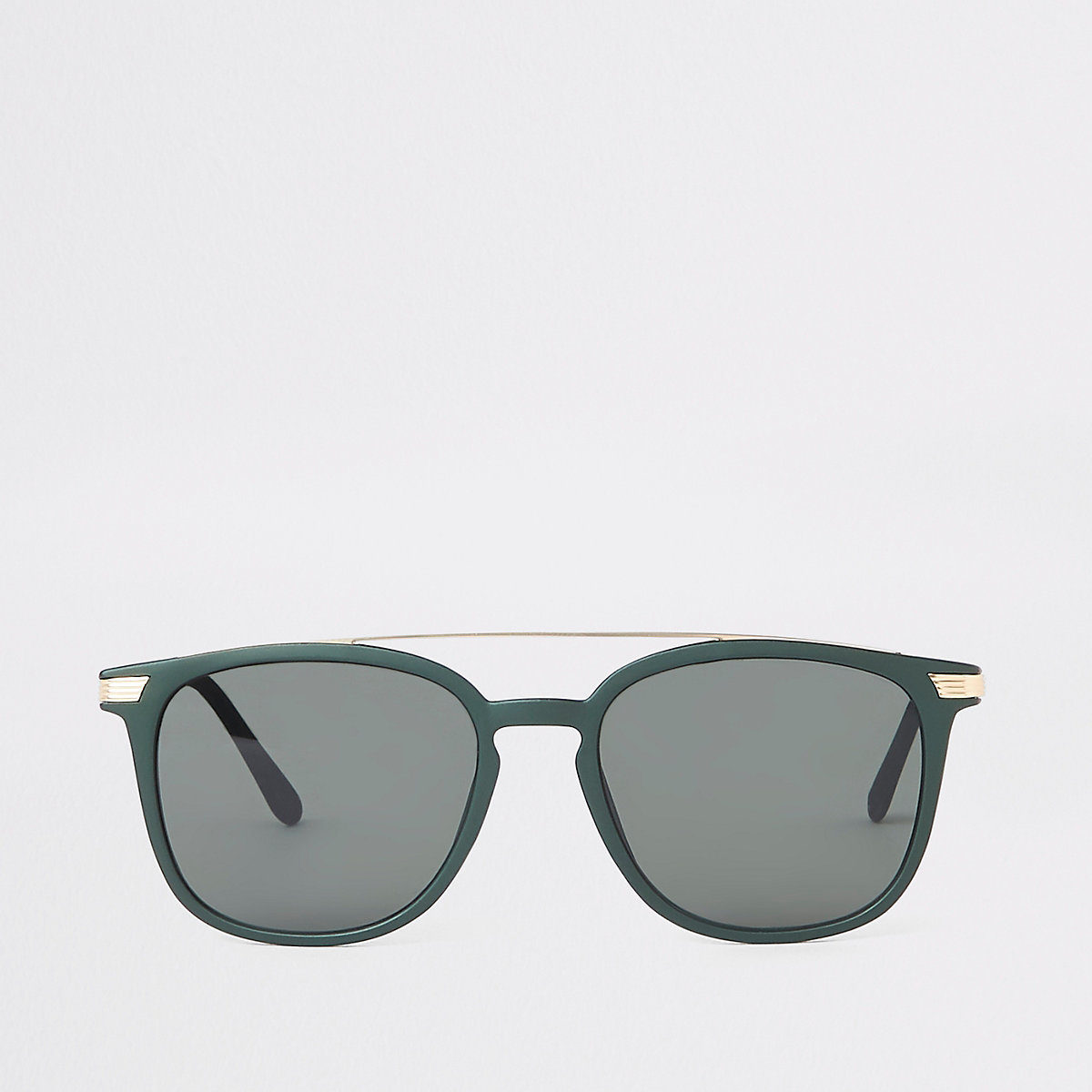 Khaki green brow bar navigator sunglasses