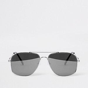 Lunettes de soleil aviateur argentées effet miroir