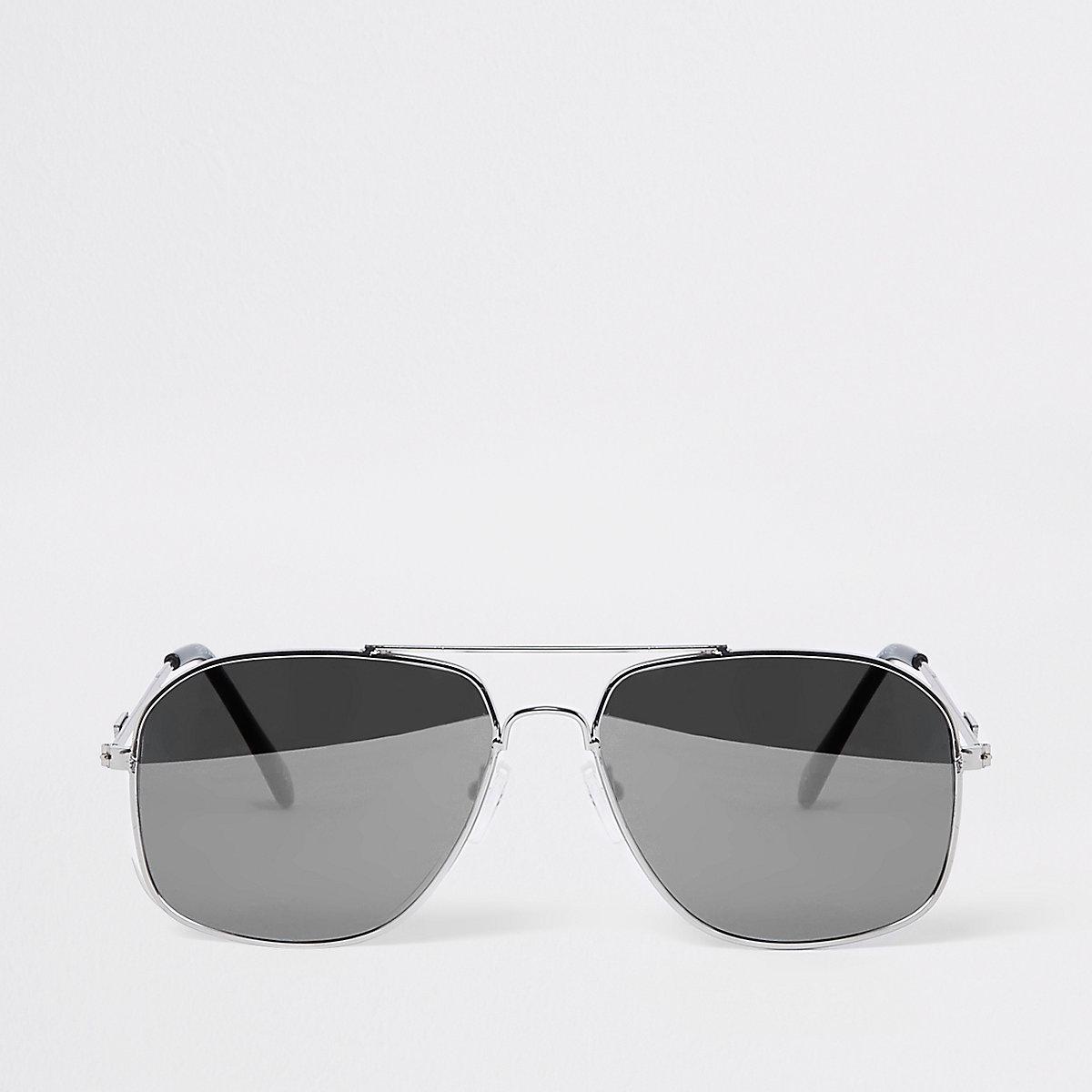 Silver tone mirror aviator sunglasses