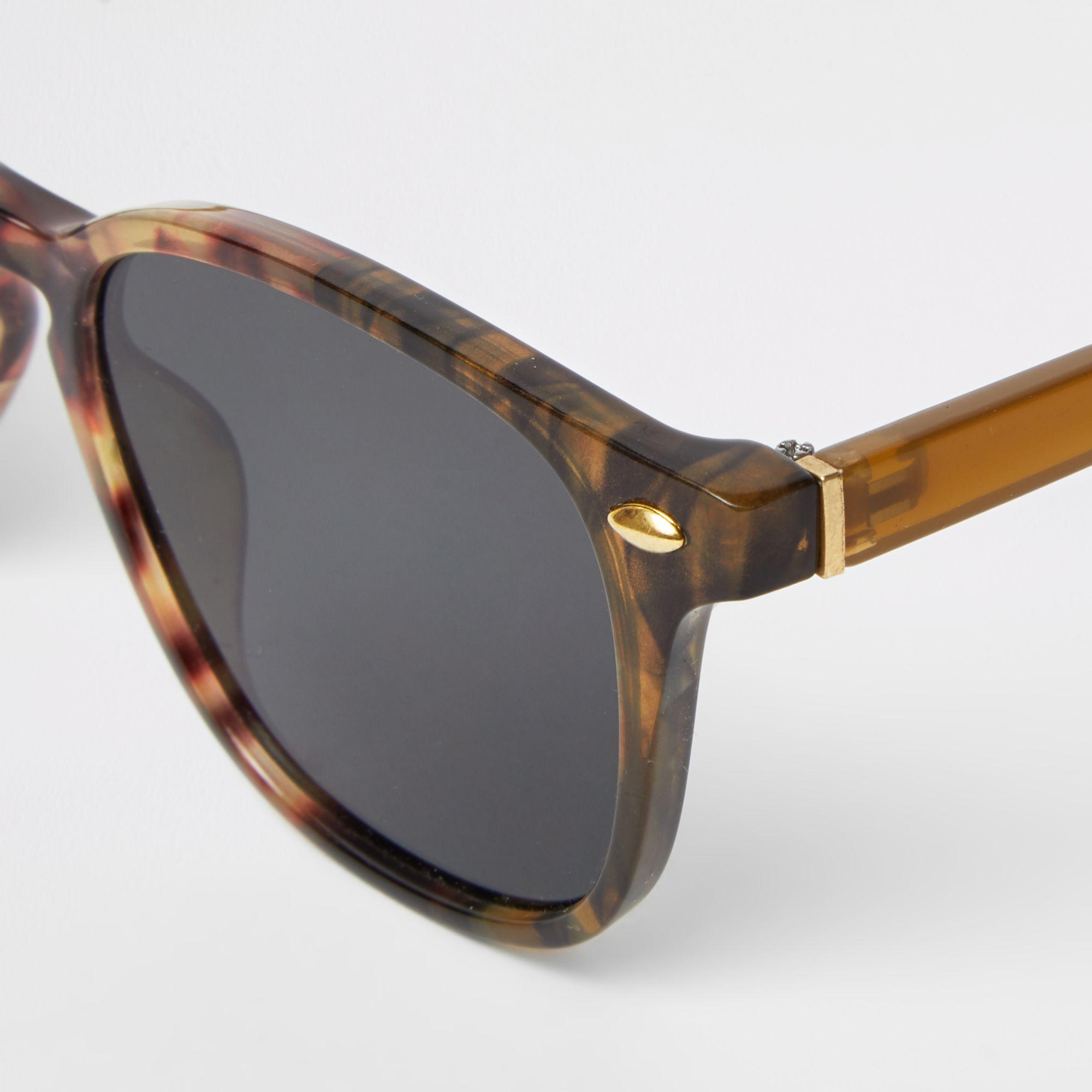 aa15e12b1a River Island Black smoke lens slim retro square sunglasses at £12 ...