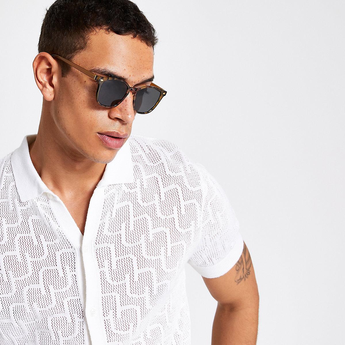 Brown tortoise shell retro square sunglasses