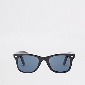 Black slim retro square blue lens sunglasses
