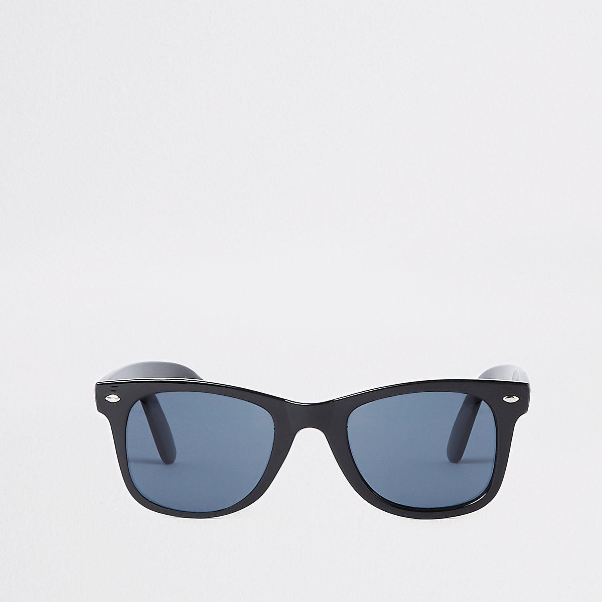 Lunettes de soleil rétro slim carrées noires à verres bleus