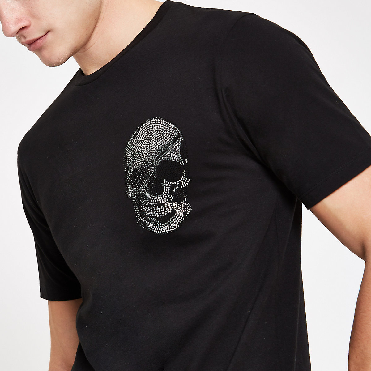 Black diamante embellished skull T-shirt