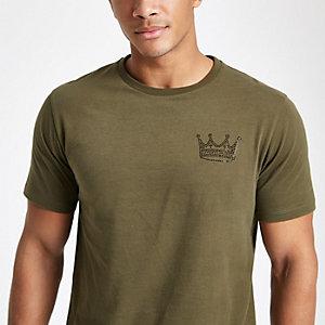 Kaki slim-fit T-shirt met stras en kroon