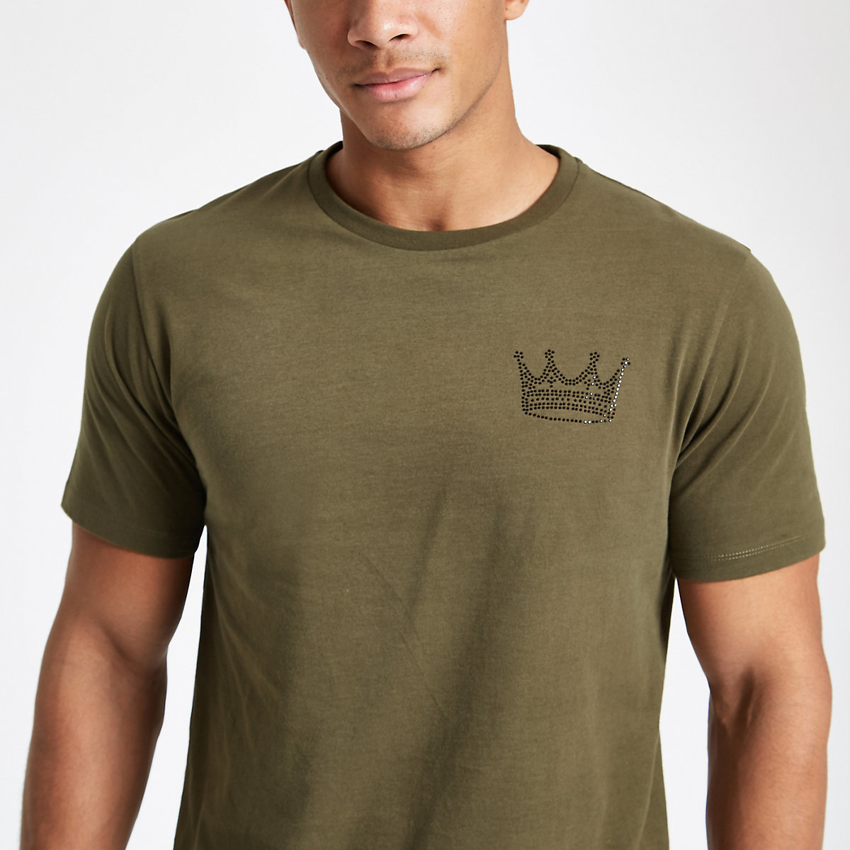 Khaki slim fit rhinestone crown T-shirt