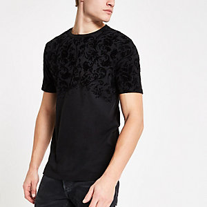 Black flock print slim fit crew neck T-shirt