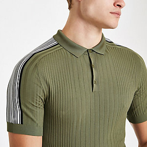 Muscle Fit Polohemd in Khaki