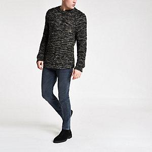 Kaki slim-fit grofgebreide pullover