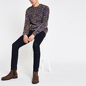 Blue slim fit chunky twist sweater