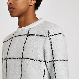 Weißer Pullover in Slim Fit mit Gittermuster